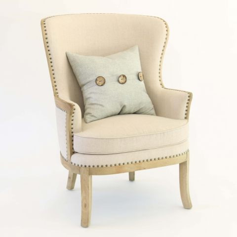 Linen Wing Back Chair - Front