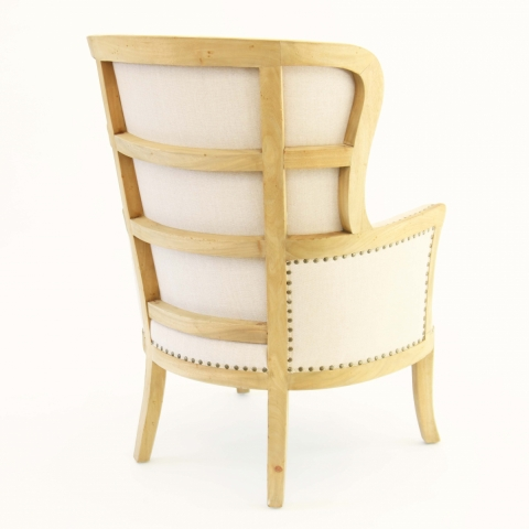 Linen Wing Back Chair - Back